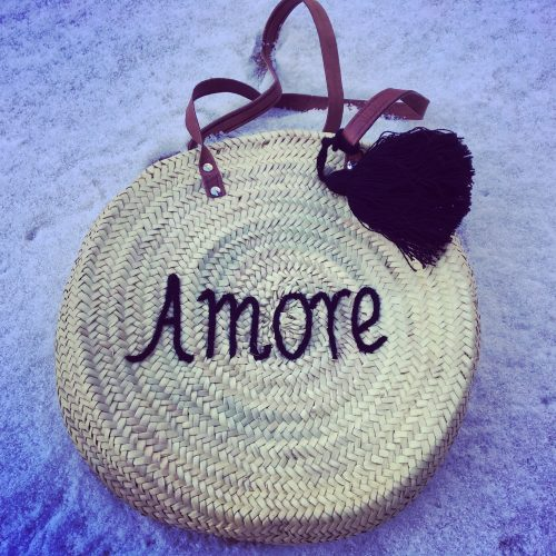 Panier rond anses cuir Amore